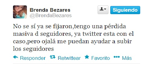 Brenda Bezares perdida de seguidores